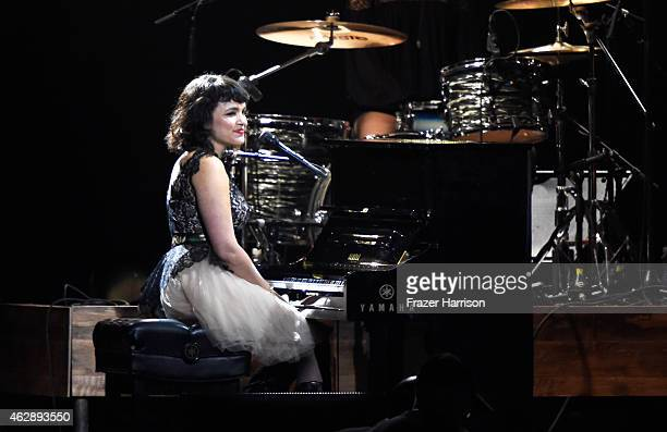Singer Norah Jones onstage at the 25th anniversary MusiCares 2015 Person Of The Year Gala honoring Bob Dylan at the Los Angeles Convention Center on...