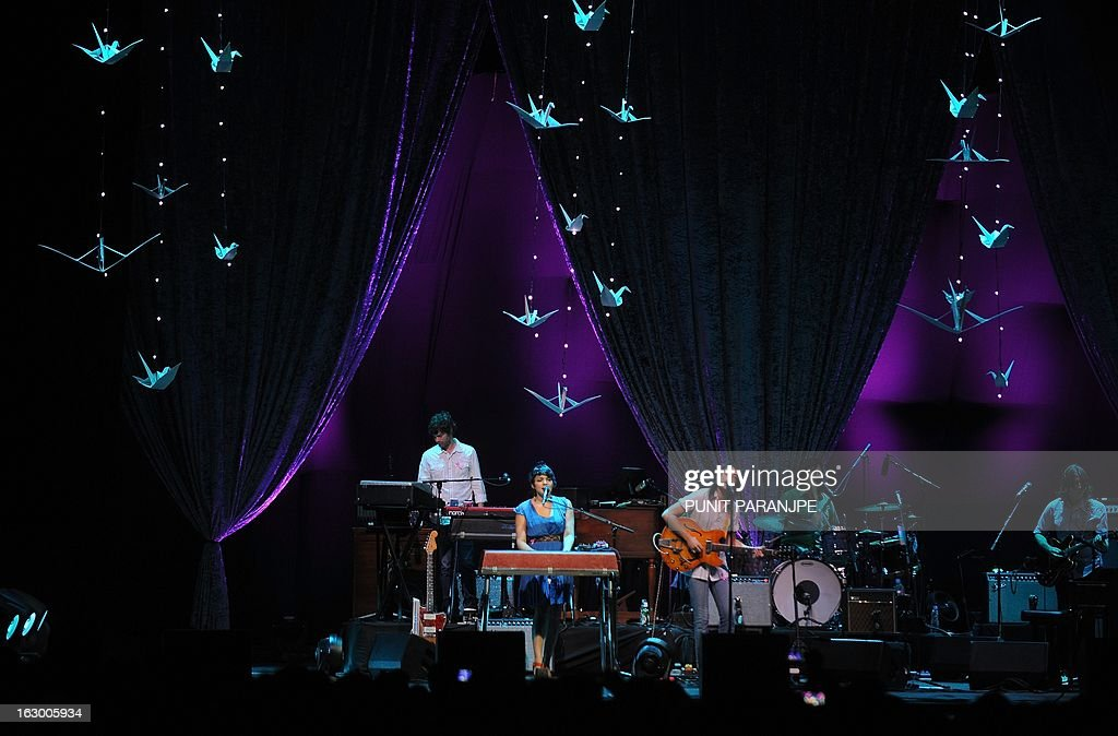 Singer Norah Jones (C) performs during her concert at A Summer's Day festival in Mumbai on March 3, 2013. Jones, who is the daughter of legendary Indian sitar player, the late Ravi Shankar, performed for the first time in the country.