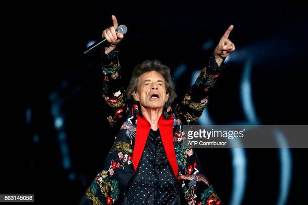 TOPSHOT Singer of British band the Rolling Stones Mick Jagger performs with the band during the inauguration concert of the U Arena hall new stadium...