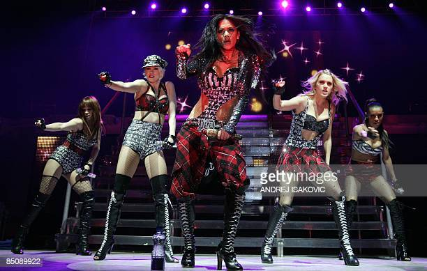 US singer of the Pussycat Dolls Nicole Scherzinger performs on stage with the group in Belgrade on February 25 2009 AFP PHOTO / Andrej Isakovic