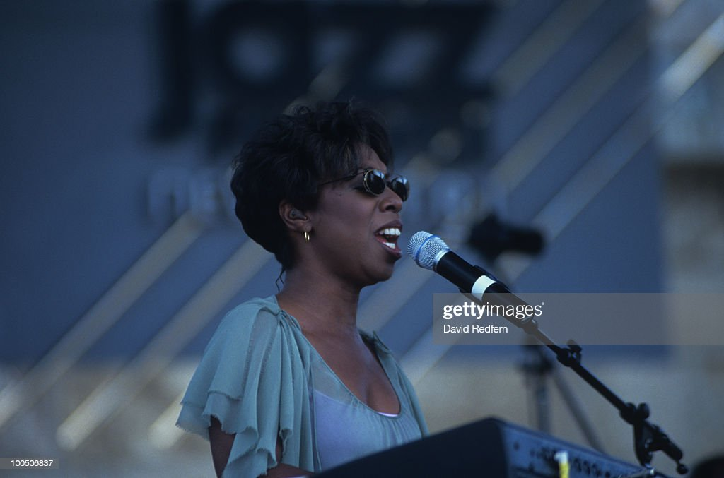 Singer Oleta Adams performs on stage at the Newport Jazz Festival held in Newport, Rhode Island on August 10, 2002.