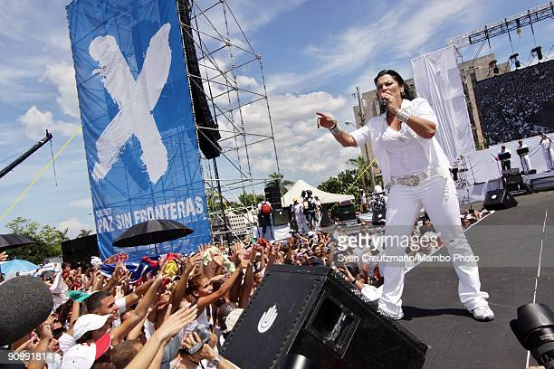 Singer Olga Tanon of Puerto Rico performs during the concert for Peace Without Borders featuring some 15 Latin American Spanish and Cuban performers...