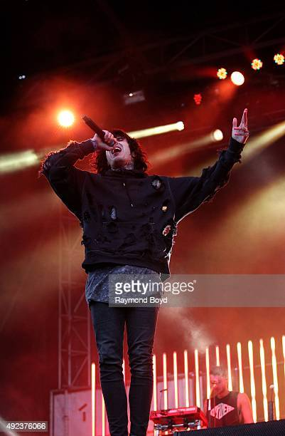 Singer Oliver Sykes from Bring Me The Horizon performs during the 'Louder Than Life' festival at Champions Park on October 3 2015 in Louisville...