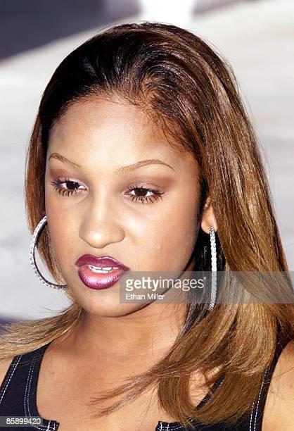 Singer Olivia is interviewed backstage at radio station KLUC's 'Summer Jam 2001' concert at Sam Boyd Stadium May 19 2001 in Las Vegas Nevada Olivia...