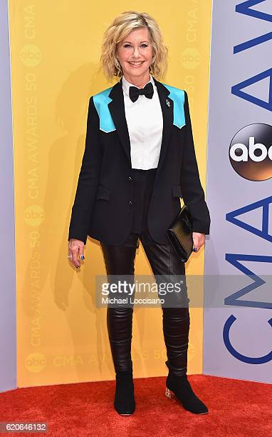 Singer Olivia NewtonJohn attends the 50th annual CMA Awards at the Bridgestone Arena on November 2 2016 in Nashville Tennessee