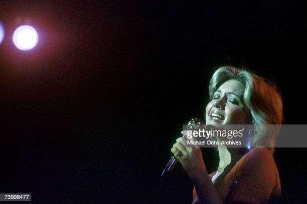 Singer Olivia NewtonJohn performs in 1975 in Detroit Michigan