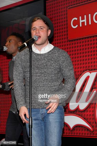 Singer Olly Murs runnerup in the sixth series of 'The X Factor' performs in the KISSFM 'CocaCola Lounge' in Chicago Illinois on JANAURY 25 2013