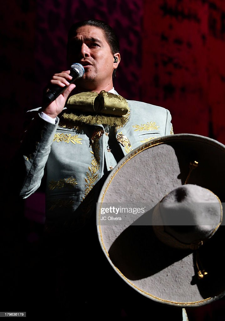 Singer Omar Arreola performs on stage as special guest during Pepe Aguilar Concert at the Gibson Amphitheatre on September 5, 2013 in Universal City, California.