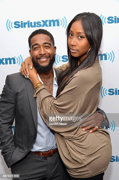 RB singer Omarion and girlfriend Apryl Jones visit SiriusXM Studios on May 1 2014 in New York City