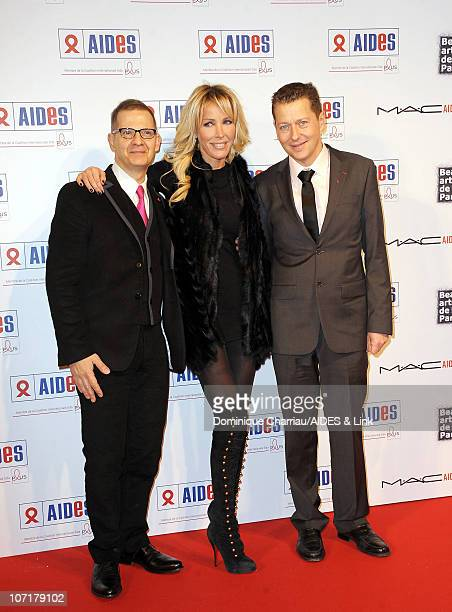 Singer Ophelie Winter poses with Bruno Spire and Michel Simon attend the Aides Gala Diner at Les BeauxArts de Paris on November 27 2010 in Paris...