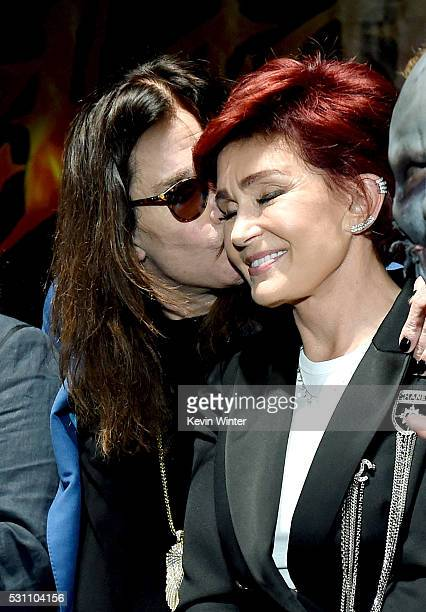 Singer Ozzy Osbourne and wife/manager Sharon Osbourne attend the Ozzy Osbourne and Corey Taylor special announcement at the Hollywood Palladium on...