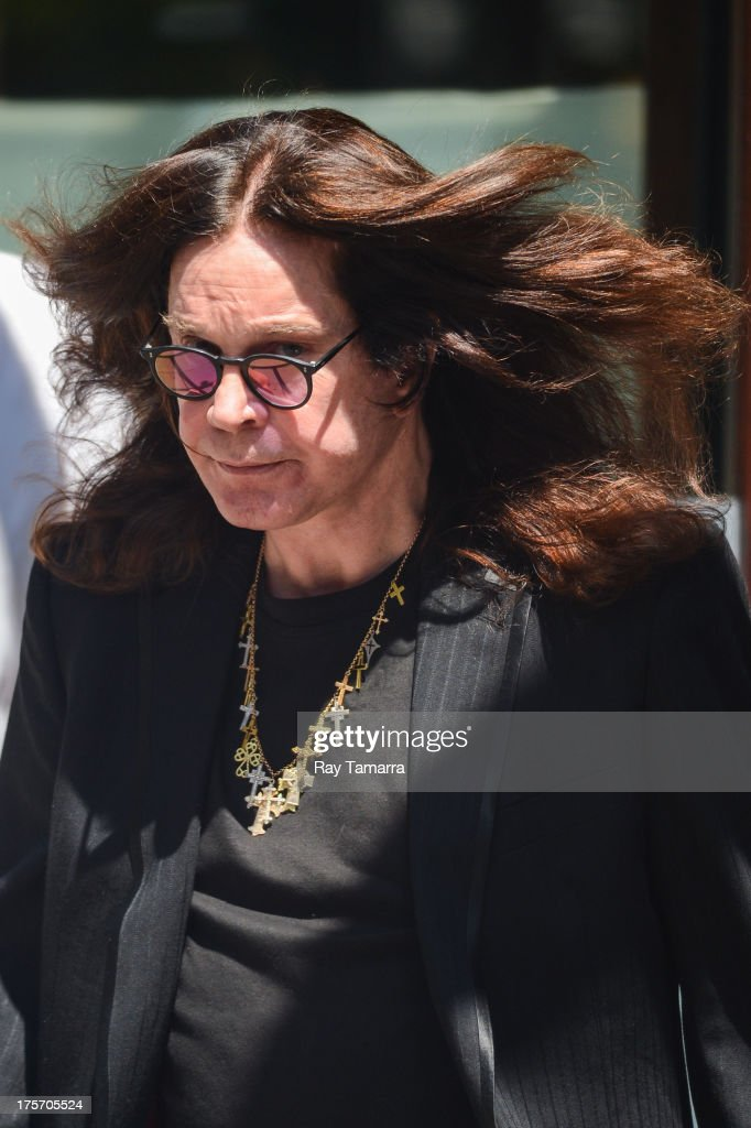 Singer <a gi-track='captionPersonalityLinkClicked' href=/galleries/search?phrase=Ozzy+Osbourne&family=editorial&specificpeople=138608 ng-click='$event.stopPropagation()'>Ozzy Osbourne</a> leaves his Tribeca hotel on August 6, 2013 in New York City.