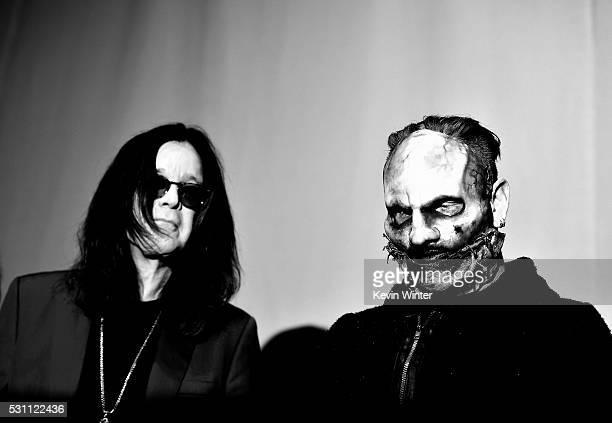 Singer Ozzy Osbourne of Black Sabbath and singer Corey Taylor of Slipknot attend the Ozzy Osbourne and Corey Taylor special announcement at the...