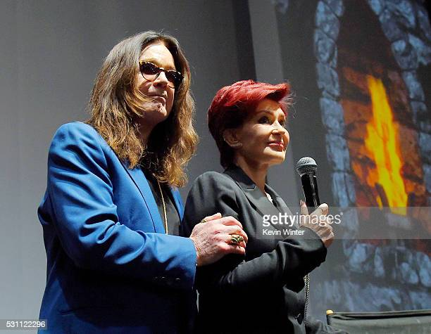 Singer Ozzy Osbourne of Black Sabbath and wife/manager Sharon Osbourne attend the Ozzy Osbourne and Corey Taylor special announcement at the...