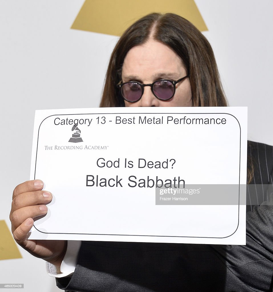 Singer <a gi-track='captionPersonalityLinkClicked' href=/galleries/search?phrase=Ozzy+Osbourne&family=editorial&specificpeople=138608 ng-click='$event.stopPropagation()'>Ozzy Osbourne</a> of Black Sabbath, winner of Best Metal Performance for 'God Is Dead?,' poses in the press room during the 56th GRAMMY Awards at Staples Center on January 26, 2014 in Los Angeles, California.