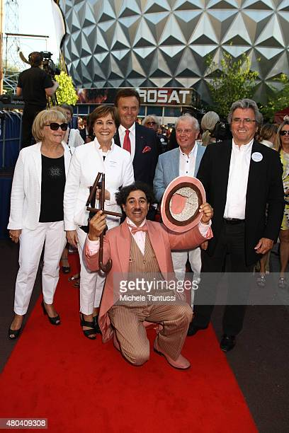 Singer Paola Del Medico Felix and her Husband Kurt Felix pose with Roland Mack M chairman of EuropaPark during EuropaPark's 40th Anniversary at the...