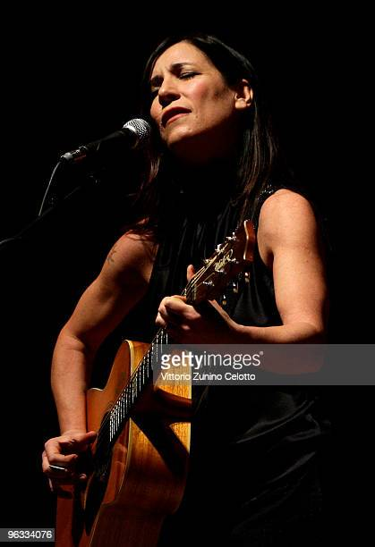 Singer Paola Turci performs before the lecture ' A world without poverty ' on February 1 2010 in Milan Italy Yunus was awarded the 2006 Nobel Peace...