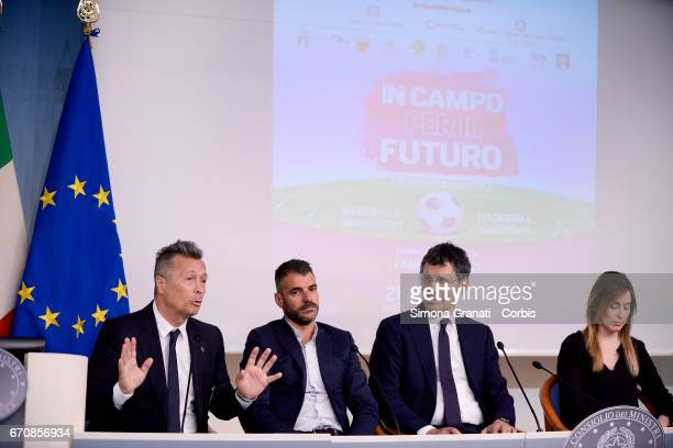 Singer Paolo Belli Former Roma player Simone Perrotta Television presenter Fabrizio Frizzi and the Under Secretary of State and Minister for Equal...