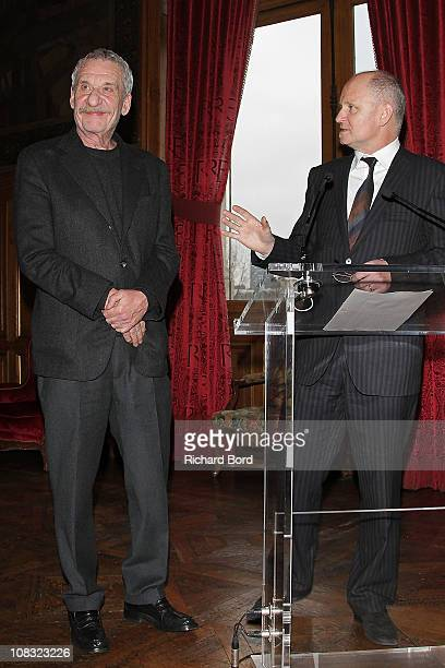 Singer Paolo Conte receives the Vermeil Medal of the city of Paris from Deputy Mayor of Paris in charge of Culture Christophe Girard at Mairie de...