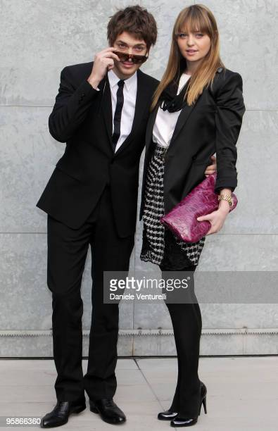 Singer Paolo Nutini and girlfriend Teri Brogan attend the Giorgio Armani Milan Menswear Autumn/Winter 2010 show on January 19 2010 in Milan Italy