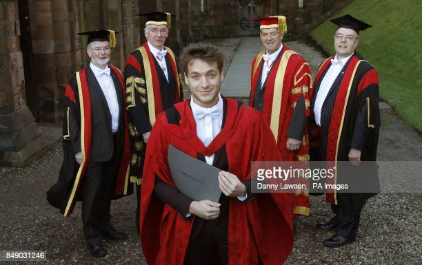 Singer Paolo Nutini receives an honorary doctorate from the University of the West of Scotland with back Professor Roddy Williams Professor Seamus...