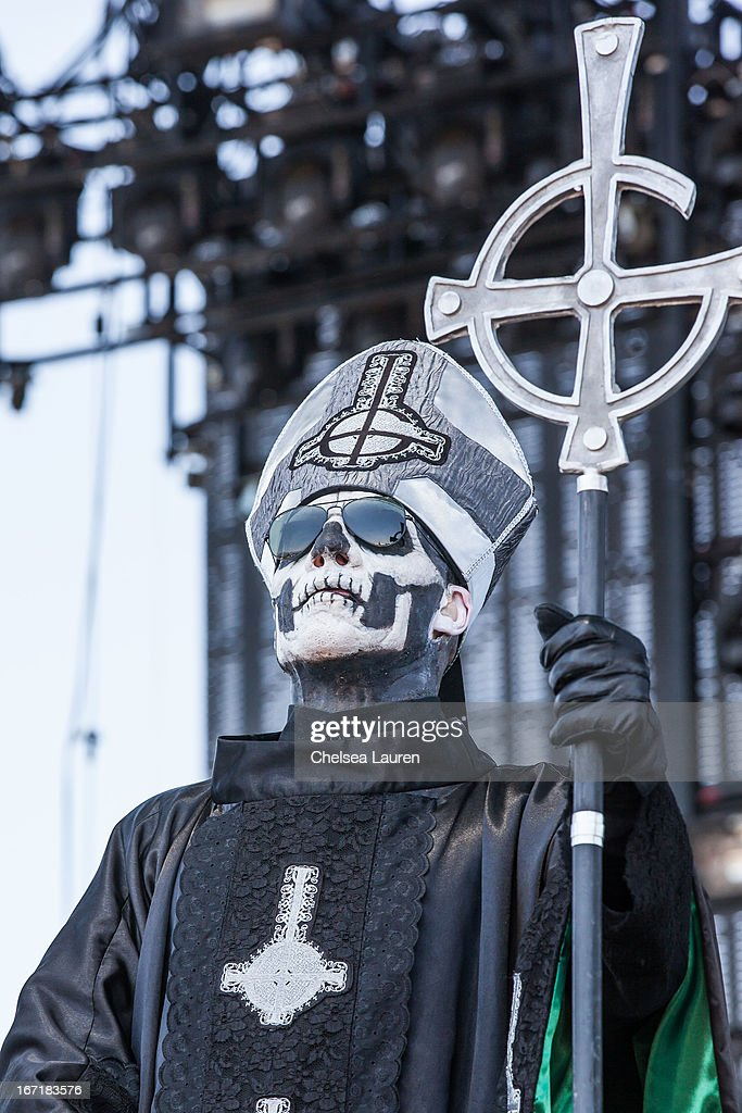 Singer Papa Emeritus II of Ghost B.C. performs during the Coachella Valley Music & Arts Festival at The Empire Polo Club on April 21, 2013 in Indio, California.