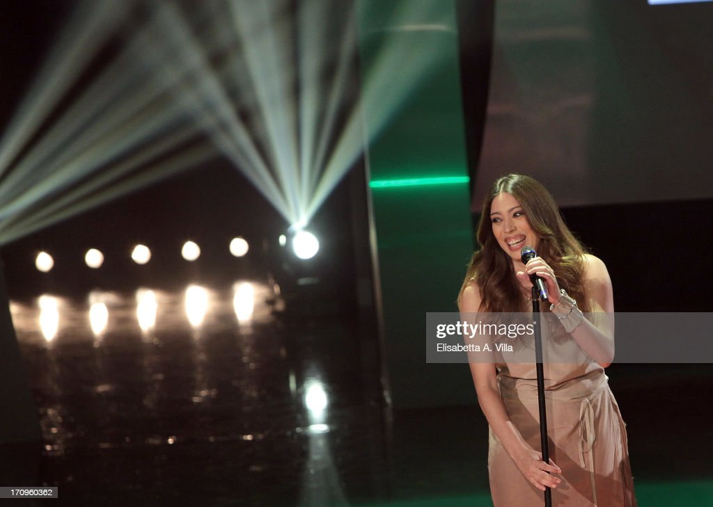 Singer Paris performes during the Premio Bellisario 2013 at Dear RAI studios on June 20, 2013 in Rome, Italy.
