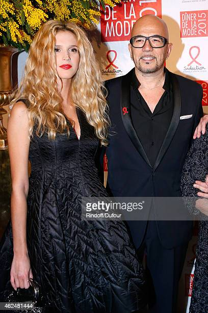 Singer Pascal Obispo and his companion Julie Hantson attend the Sidaction Gala Dinner 2015 at Pavillon d'Armenonville on January 29 2015 in Paris...