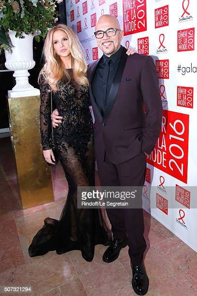 Singer Pascal Obispo and his companion Julie Hantson attend the Sidaction Gala Dinner 2016 as part of Paris Fashion Week Held at Pavillon...