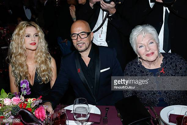 Singer Pascal Obispo his companion Julie Hantson and Line Renaud attend the Sidaction Gala Dinner 2015 at Pavillon d'Armenonville on January 29 2015...