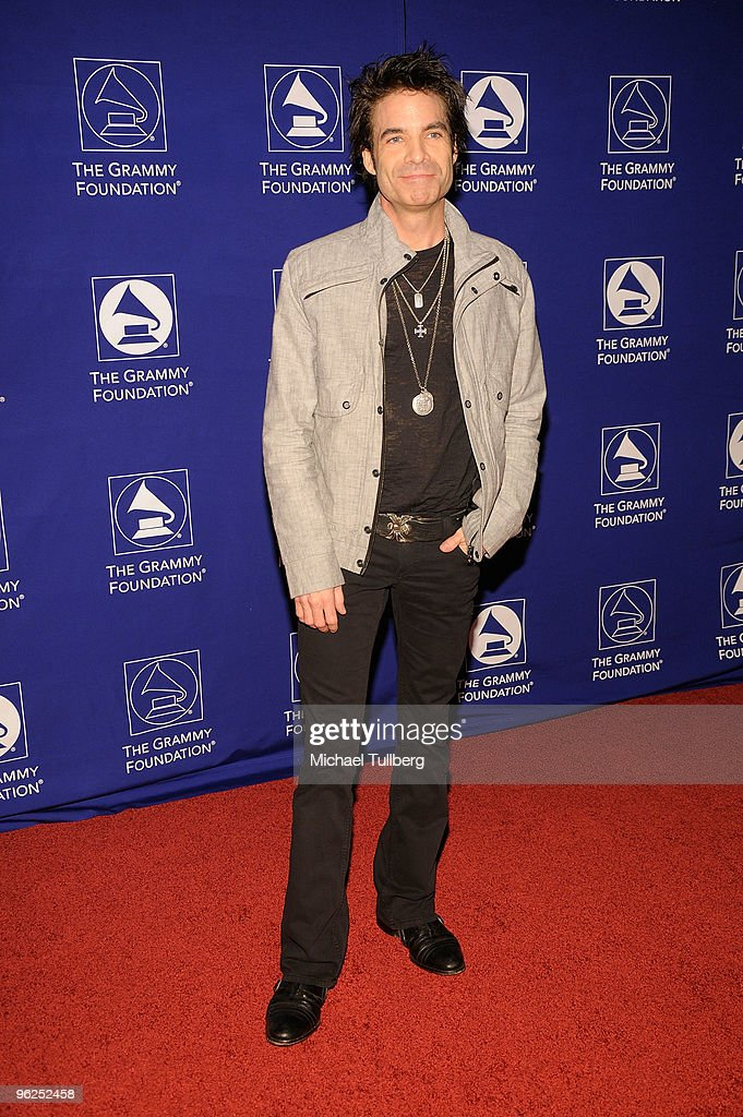 Singer Pat Monahan of the rock group Train arrives at the GRAMMY Foundation's 12th Annual Music Preservation Project 'Cue The Music: A Celebration Of Music And Television', held at the Wilshire Ebell Theatre on January 28, 2010 in Los Angeles, California.