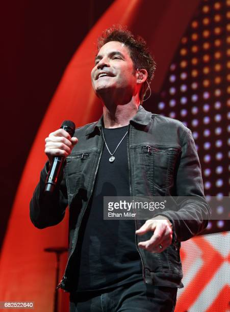 Singer Pat Monahan of Train performs as the band kicks off the Play That Song Tour in support of the album 'A Girl a Bottle a Boat' at MGM Grand...