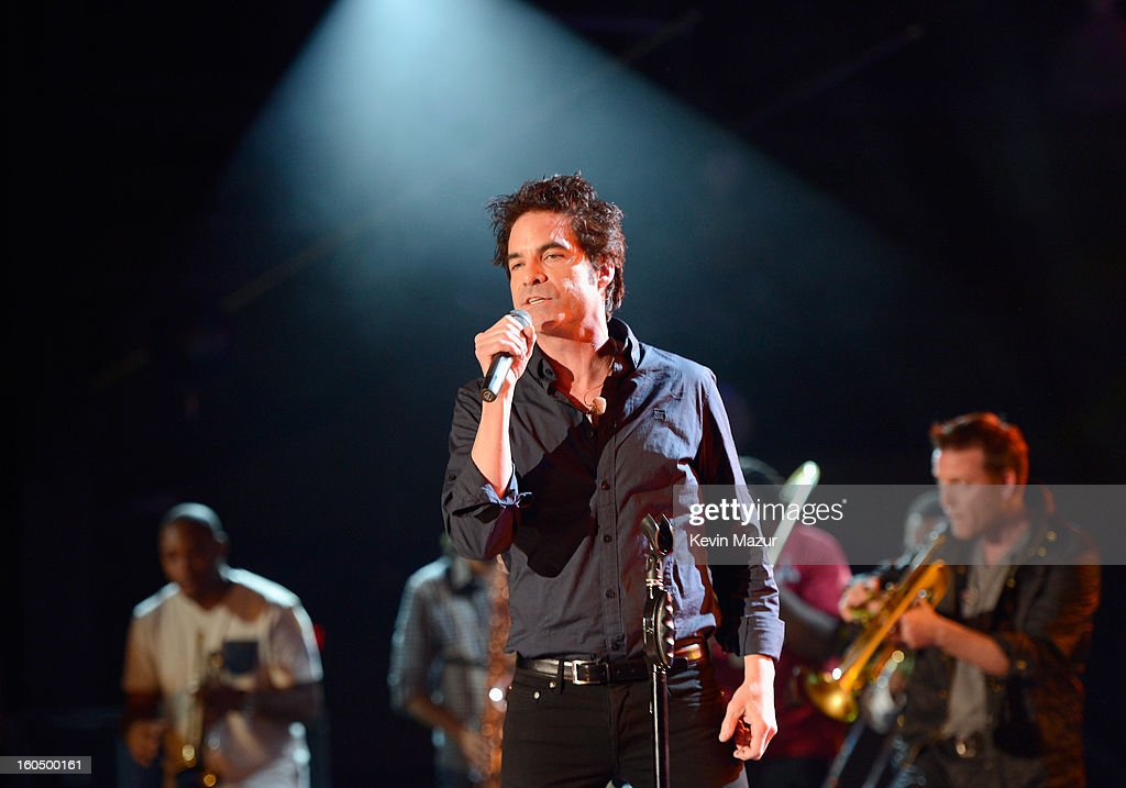 Singer Pat Monahan of Train performs with the Rebirth Brass Band during the VH1 Best Super Bowl Concert Ever at Sugar Mill on February 1, 2013 in New Orleans, Louisiana.