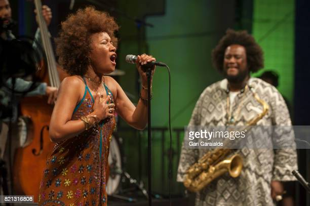 Singer Patrice Quinn performs with American Jazz saxophonist Kamasi Washington onstage during 52nd edition of Heineken Jazzaldia Festival on July 23...