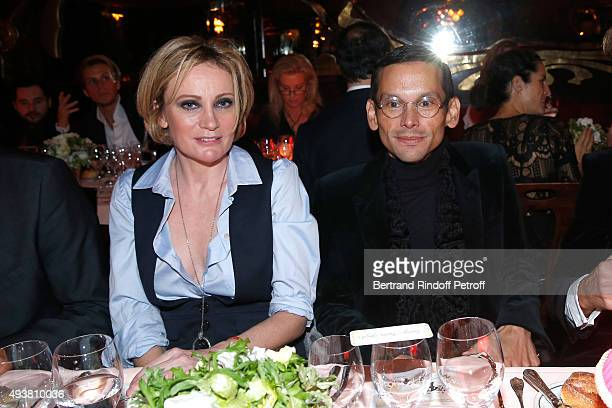 Singer Patricia Kaas and Santiago Barberi Gonzales attend the Dinner in honor of the Artist Adrian Ghenie organized by Thaddaeus Ropac at Maxim's on...