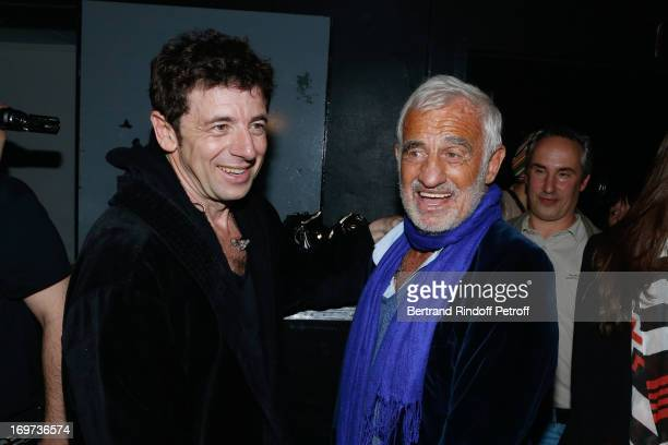 Singer Patrick Bruel and actor JeanPaul Belmondo backstage after Patrick Bruel's concert at Zenith de Paris on May 31 2013 in Paris France