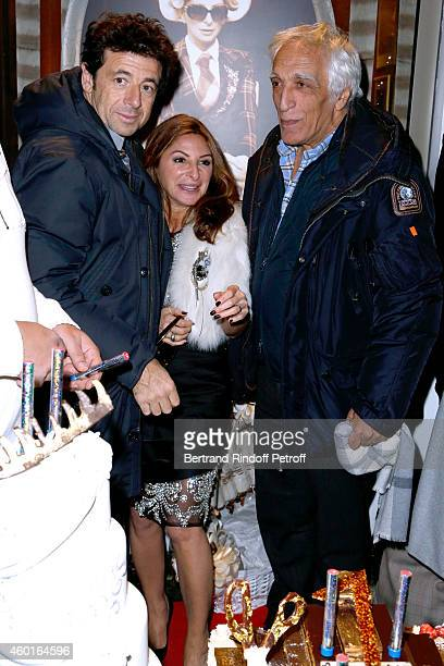 Singer Patrick Bruel Sarah Guetta and Actor Gerard Darmon attend the Sarah Guetta Party in Paris for the first anniversary of the Hairdressing salon...