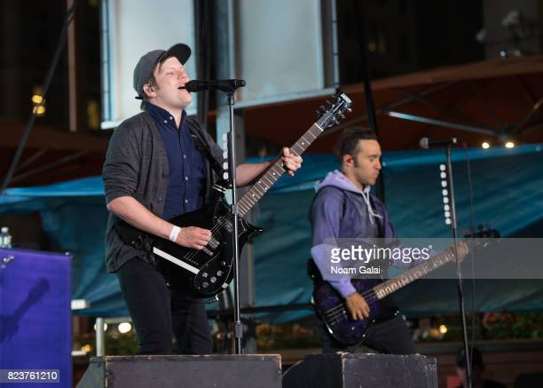 Singer Patrick Stump and Pete Wentz of Fall Out Boy perform at Elvis Duran's 2017 Summer Bash at the Pennsy Plaza on July 27 2017 in New York City