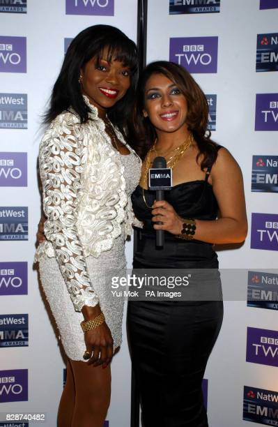 Singer Patti Boulaye and former Big Brother contestant Narinder Kaur arriving for the 2003 Natwest EMMA Awards held at the Grosvenor House Hotel on...