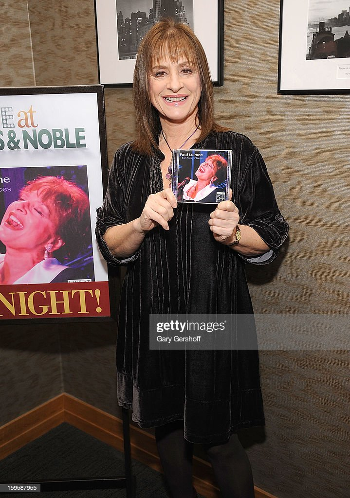 Singer Patti Lupone promotes 'Far Away Places: Live at 54 BELOW' at Barnes & Noble, 86th & Lexington on January 16, 2013 in New York City.