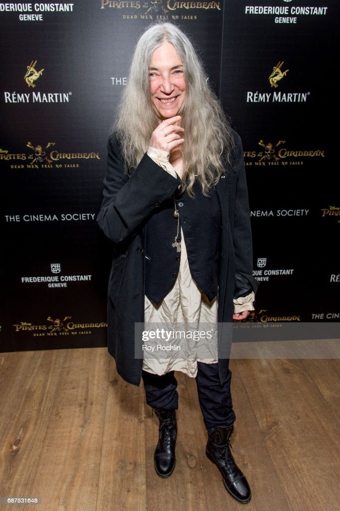 Singer Patti Smith attends The Cinema Society host a screening of 'Pirates Of The Caribbean: Dead Men Tell No Tales' at Crosby Street Hotel on May 23, 2017 in New York City.