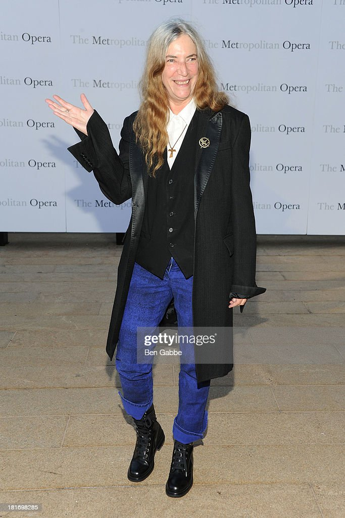 Singer Patti Smith attends the Metropolitan Opera season opening production of 'Eugene Onegin' at The Metropolitan Opera House on September 23, 2013 in New York City.