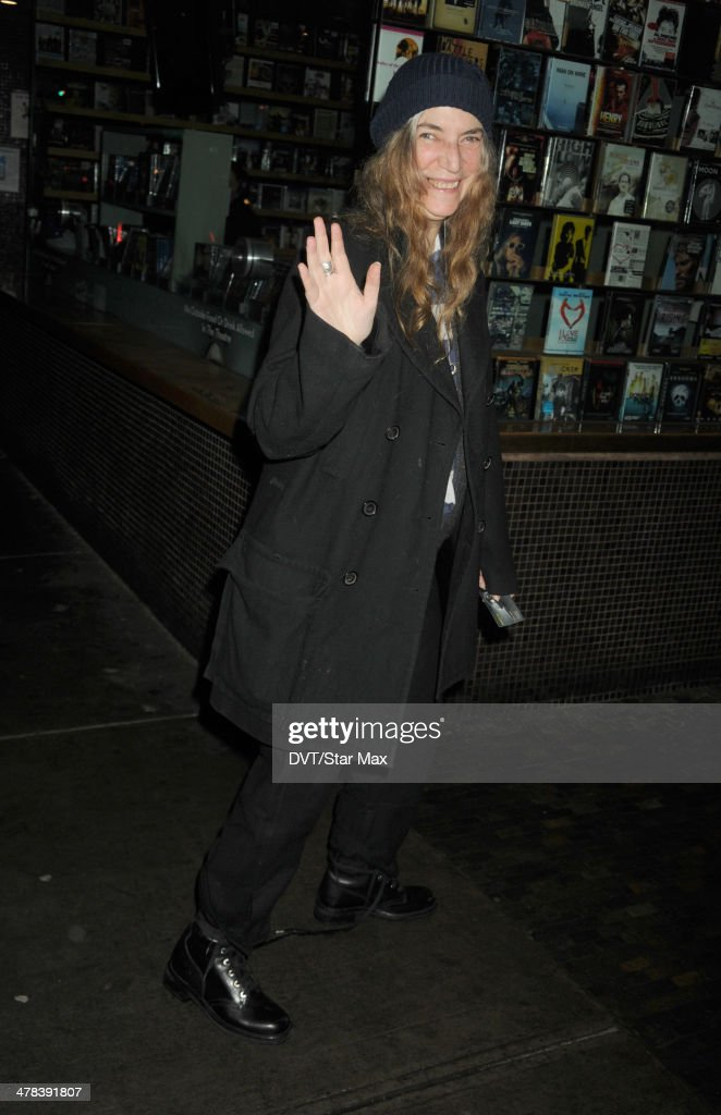 Singer <a gi-track='captionPersonalityLinkClicked' href=/galleries/search?phrase=Patti+Smith+-+Godmother+of+Punk&family=editorial&specificpeople=221285 ng-click='$event.stopPropagation()'>Patti Smith</a> is seen on March 12, 2014 in New York City.