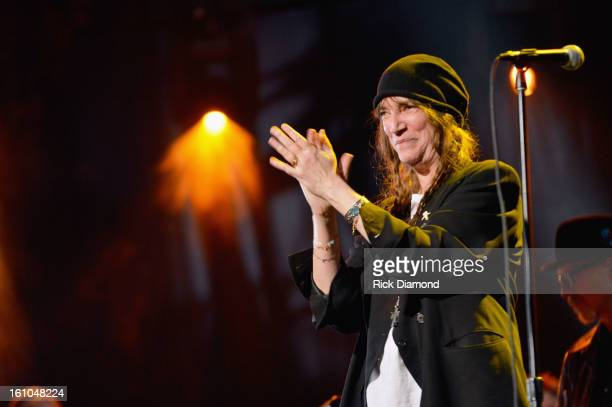 Singer Patti Smith performs onstage at MusiCares Person Of The Year Honoring Bruce Springsteen at the Los Angeles Convention Center on February 8...