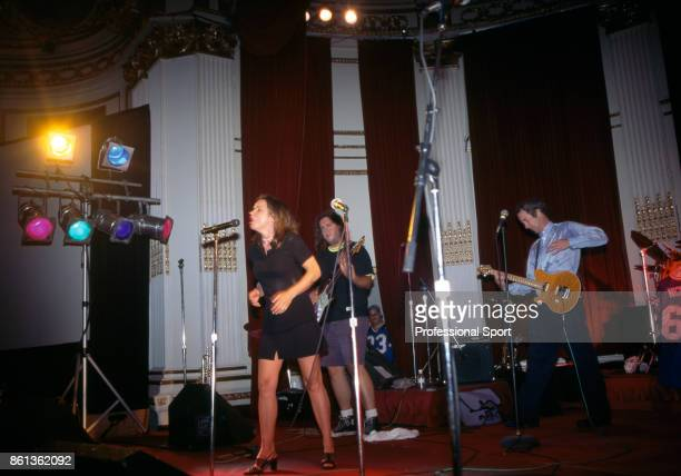 Singer Patty Smyth and her husband John McEnroe performing during a benefit concert for the Vitas Gerulaitis Youth Foundation in New York USA circa...