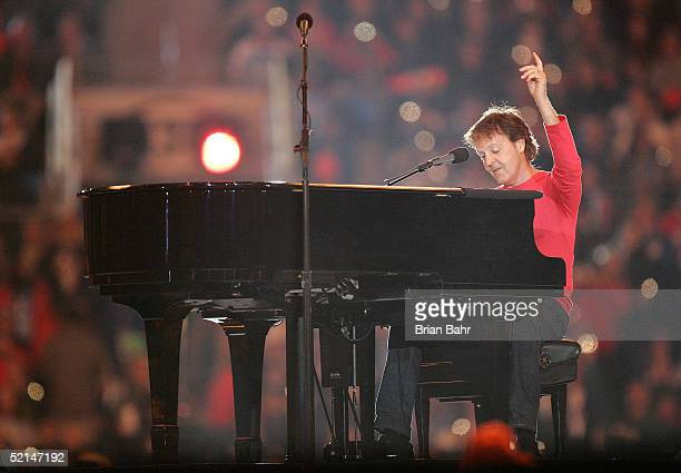 Singer Paul McCartney performs during the Super Bowl XXXIX halftime show at Alltel Stadium on February 6 2005 in Jacksonville Florida