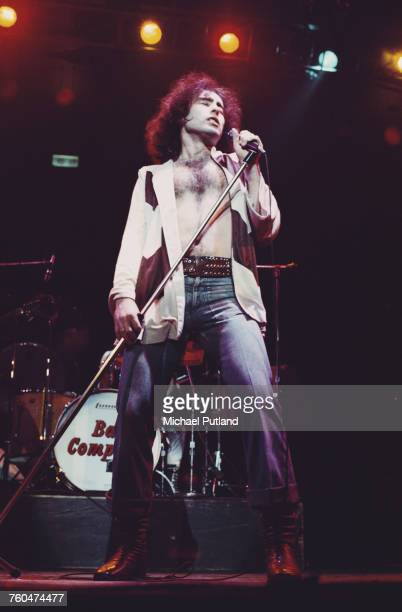 Singer Paul Rodgers performing with English rock group Bad Company London 1975
