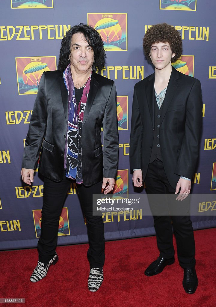 Singer Paul Stanley (L) and son Evan Shane Stanley attend the 'Led Zeppelin: Celebration Day' premiere at the Ziegfeld Theater on October 9, 2012 in New York City.
