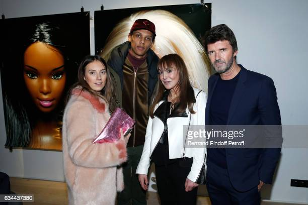 Singer Paul Van Haver aka Stromae his wife Coralie Barbier Babeth Djian and CEO of Mazarine Group PaulEmmanuel Reiffers attend the Launching of the...