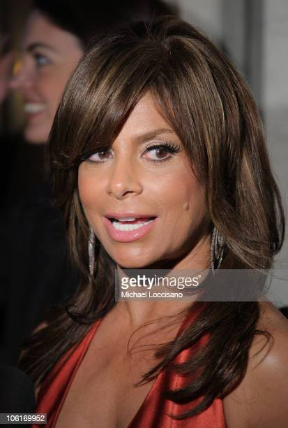 Singer Paula Abdul is interviewed at Douglas Hannant's Tenth Anniversary Celebration at The Bon Appetit Supper Club in New York City on October 26...